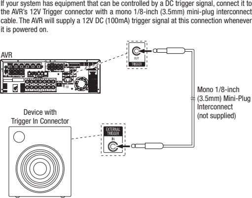If your system has equipment that can be controlled by a dc trigger signal, connect