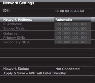 Network Settings ID#: 00 00 00 00 A0 A0 Network Settings: Automatic IP Address: 000
