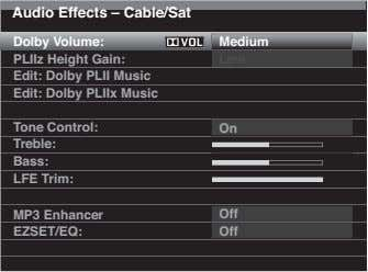 Audio Effects – Cable/Sat Dolby Volume: Medium PLIIz Height Gain: Low Edit: Dolby PLII Music