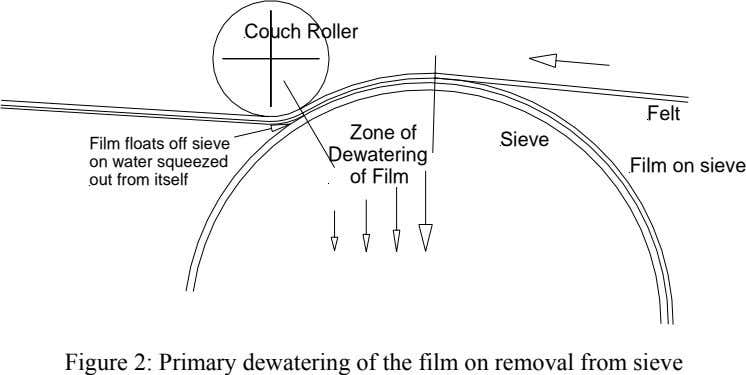 Couch Roller Felt Zone of Sieve Film floats off sieve on water squeezed out from