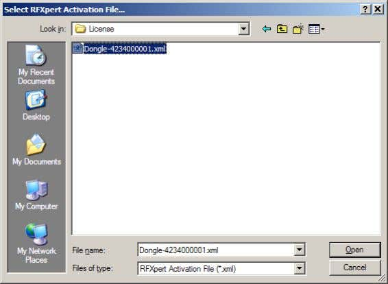 apply the license file, browse to this file and click Open. Figure 10. Licensing the RF