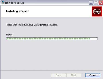 1. RFXpert install wizard Figure 2: Loading RFXpert Program Figure 3: Finishing RFXpert Install The last