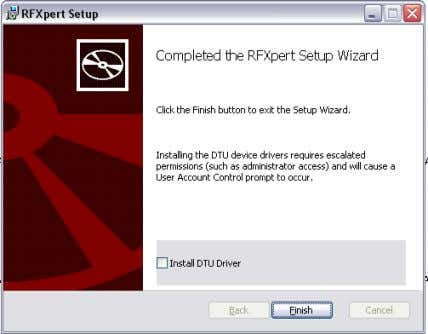 and click Finish. The wizard then installs the needed USB driver and Dtapi. Figure 4. DTU-238