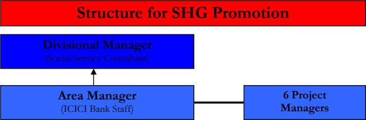 Structure for SHG Promotion Divisional Manager (Social Service Consultant) Area Manager 6 Project (ICICI Bank