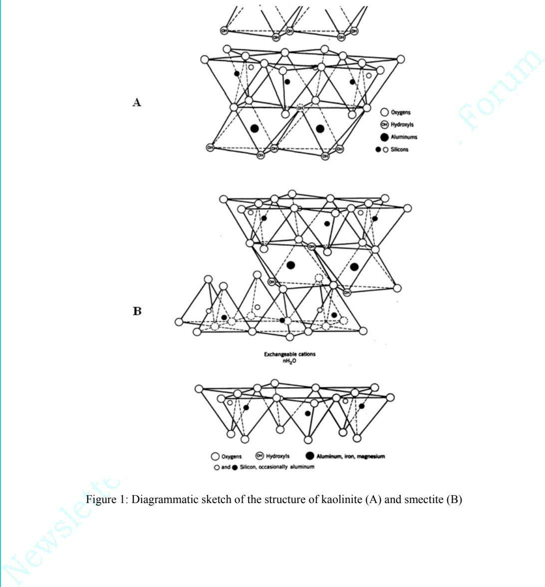 Figure 1: Diagrammatic sketch of the structure of kaolinite (A) and smectite (B)
