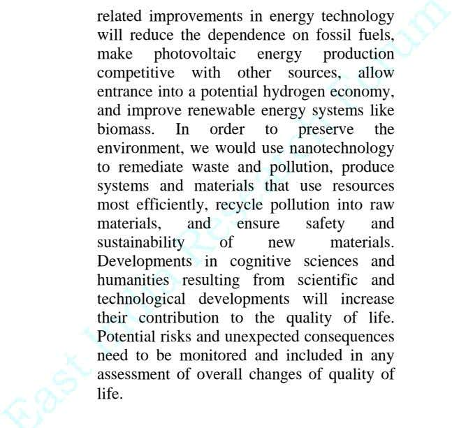 related improvements in energy technology will reduce the dependence on fossil fuels, make photovoltaic energy