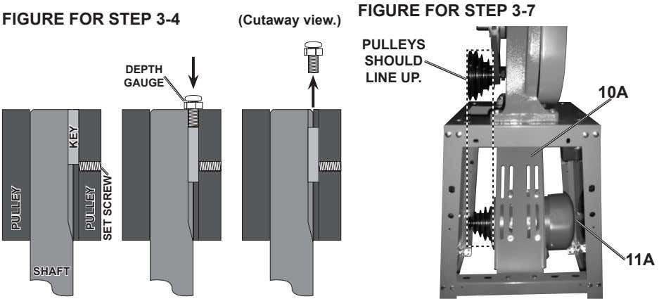 Figure For Step 3-7 Figure For Step 3-4 (cutaway view.) pulleYS Should depth line up.