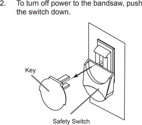 2. To turn off power to the bandsaw, push the switch down. Key Safety Switch