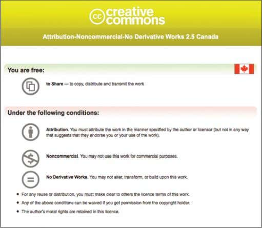 a Creative Commons Attribution-Noncommercial-No Derivative Works 2.5 Canada Licence. joan@joanacosta.ca Copyright 2016