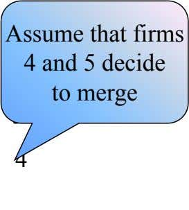 Assume that firms 1 2 4 and 5 decide to merge 3 4 } 5