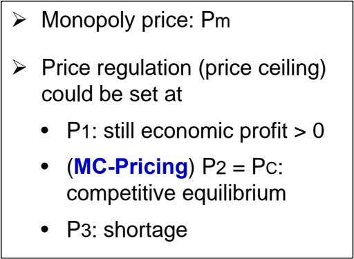  Monopoly price: Pm  Price regulation (price ceiling) could be set at • P1: