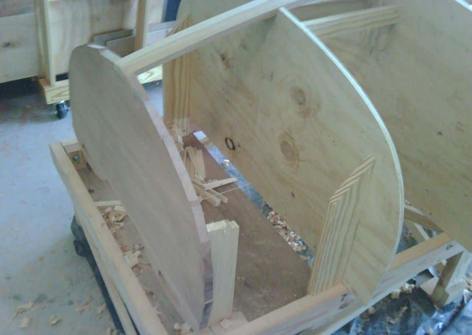 The keelson is fitted to the African Mahogany transom.