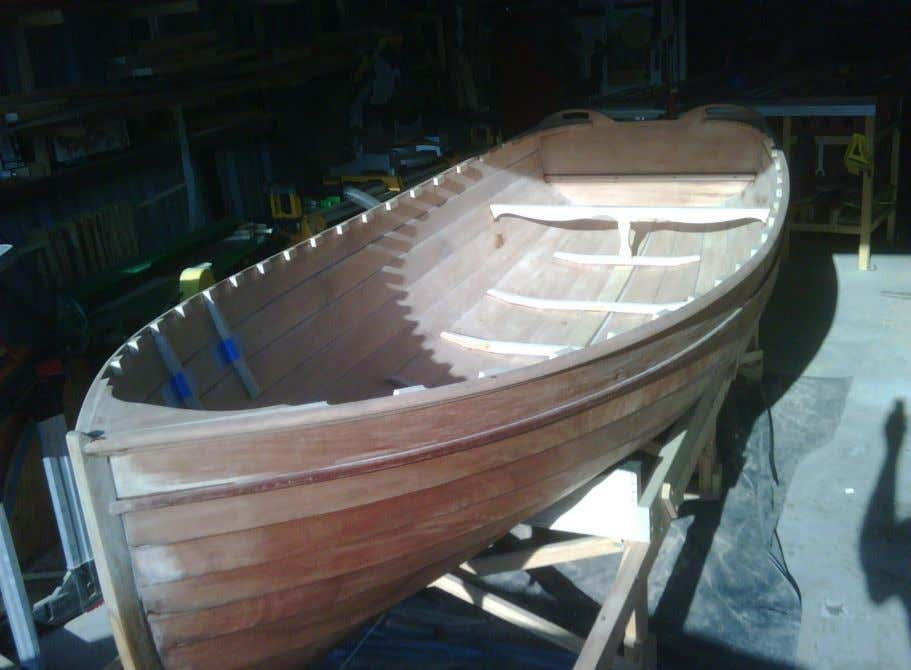 Second Celebration: The boat is turned over. Here, breasthook, Alder spacers, half frames, floors, and