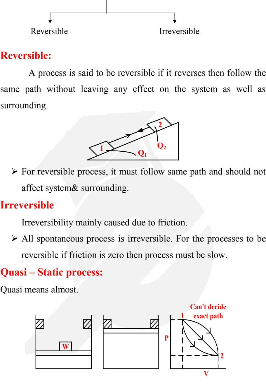 Reversible Irreversible Reversible: A process is said to be reversible if it reverses then follow