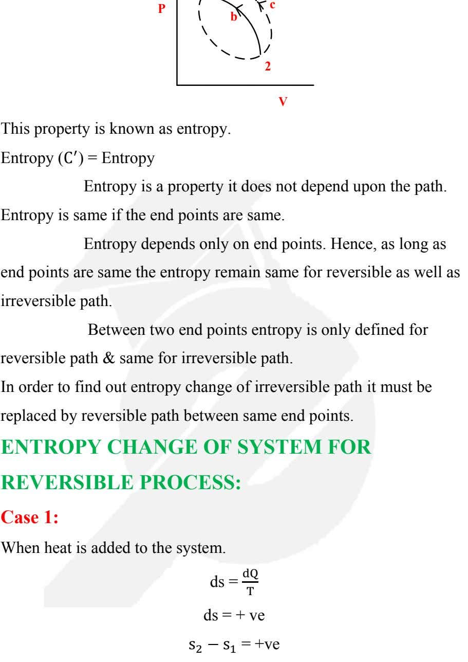 c P b 2 V This property is known as entropy. Entropy (C ′ )