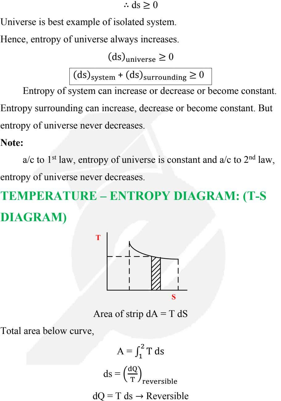 ∴ ds ≥ 0 Universe is best example of isolated system. Hence, entropy of universe
