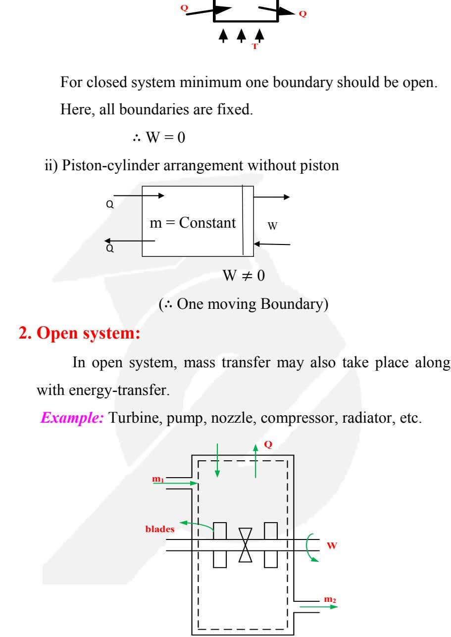 Q T For closed system minimum one boundary should be open. Here, all boundaries are