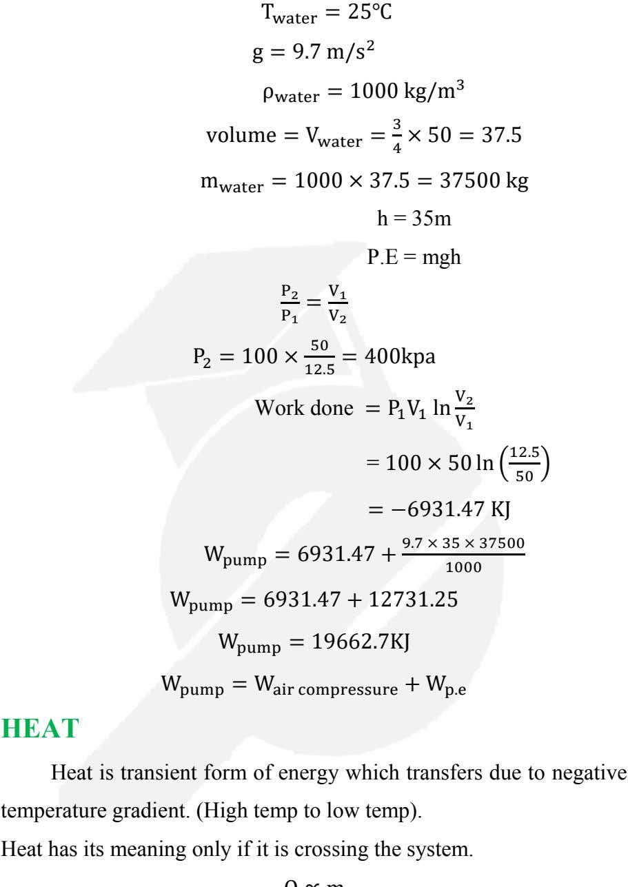 T water = 25℃ g = 9.7 m/s 2 ρ water = 1000 kg/m 3