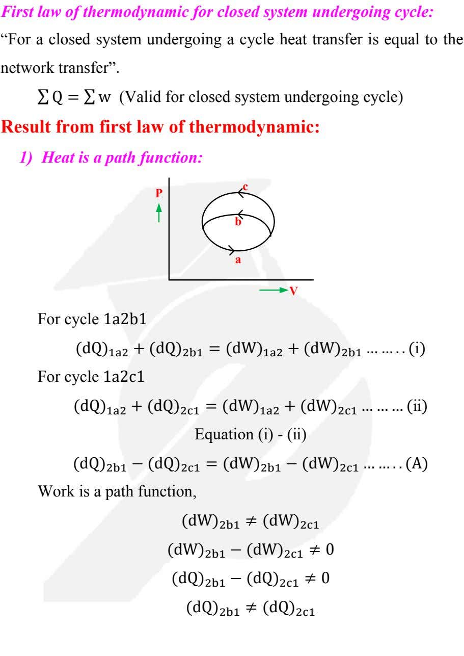 "First law of thermodynamic for closed system undergoing cycle: ""For a closed system undergoing a"