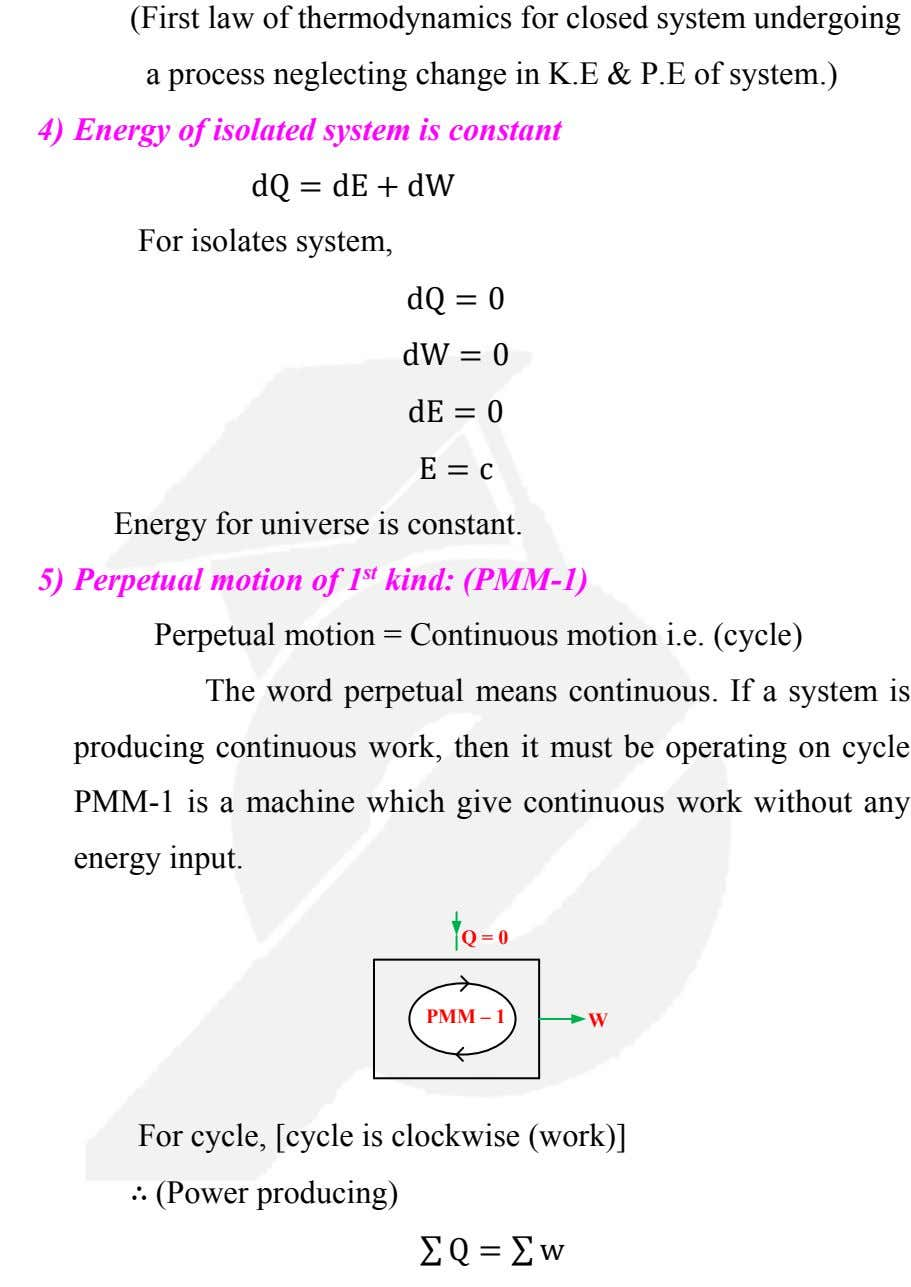 (First law of thermodynamics for closed system undergoing a process neglecting change in K.E &