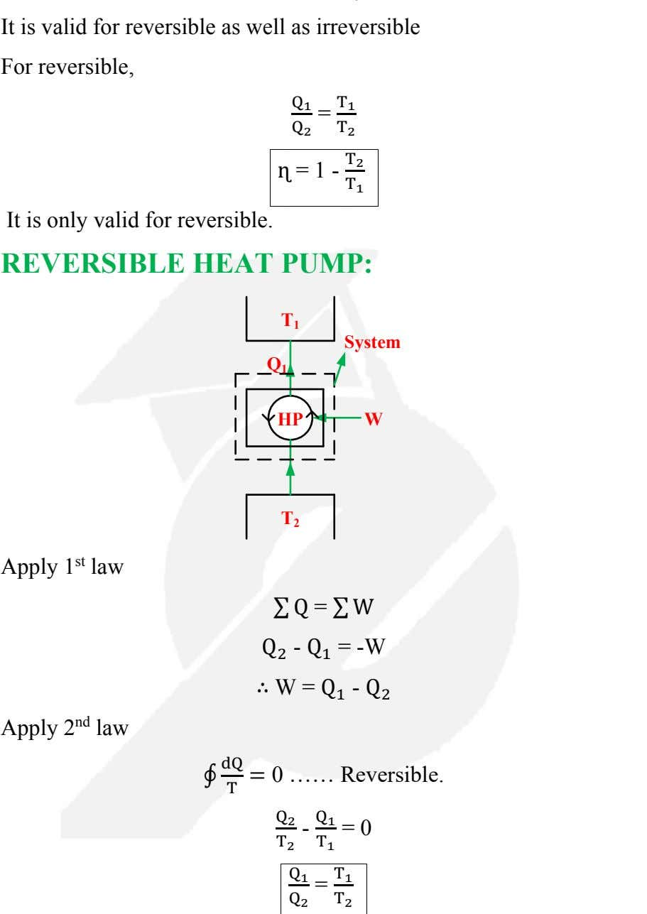 It is valid for reversible as well as irreversible For reversible, Q 1 = T