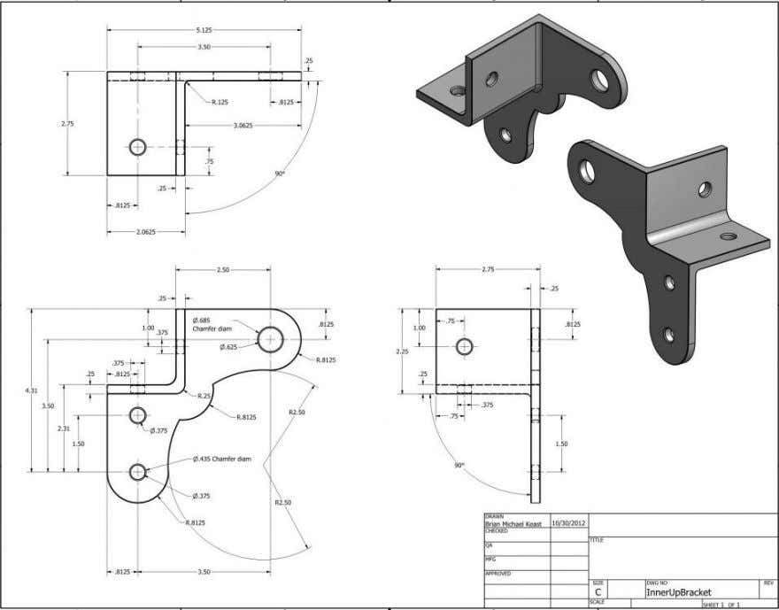 or Assembly, the 3 Standard Orthographic Views are Typical http://www.idrawdreamsforinventors.com/technical -