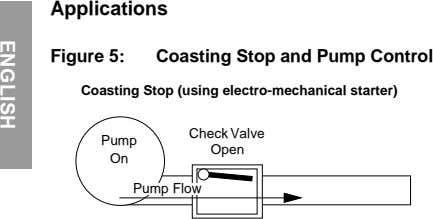 Applications Figure 5: Coasting Stop and Pump Control Coasting Stop (using electro-mechanical starter) Check Valve