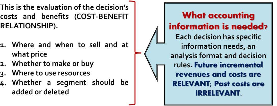 This is the evaluation of the decision's costs and benefits (COST-BENEFIT RELATIONSHIP). What accounting information is