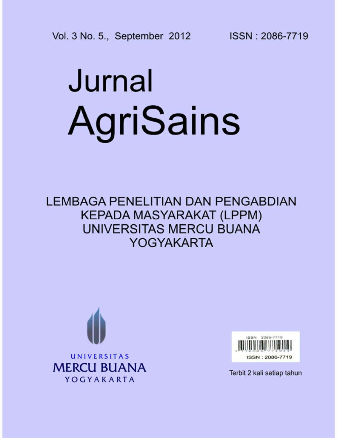 Jurnal AgriSains Vol. 3 No. 5., September 2012 ISSN : 2086-7719 i