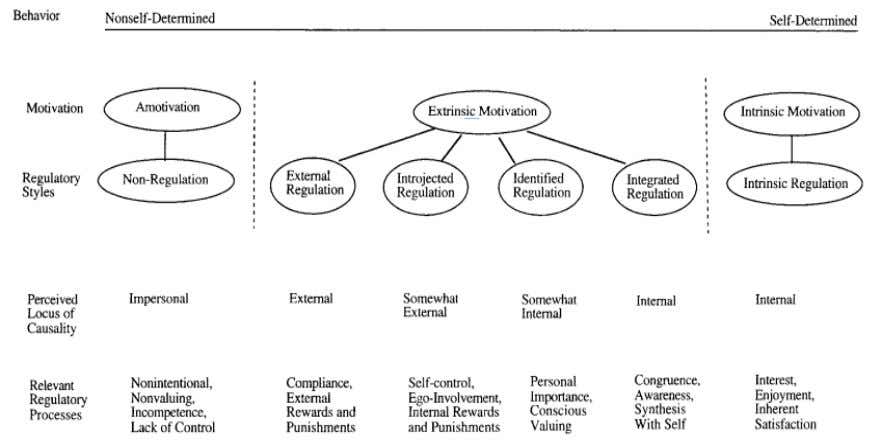 Figure 1. The Self-Determination Continuum showing types of motivation with their regulatory styles, loci of causality,