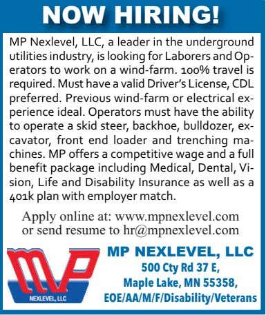 NOW HIRING! MP Nexlevel, LLC, a leader in the underground utilities industry, is looking for Laborers