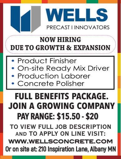 PRECAST I INNOVATORS NOW HIRING DUE TO GROWTH & EXPANSION • Product Finisher • On-site Ready