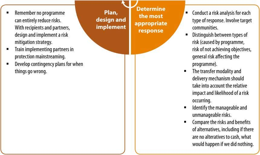 determine ƒ Remember no programme can entirely reduce risks. With recipients and partners, design and