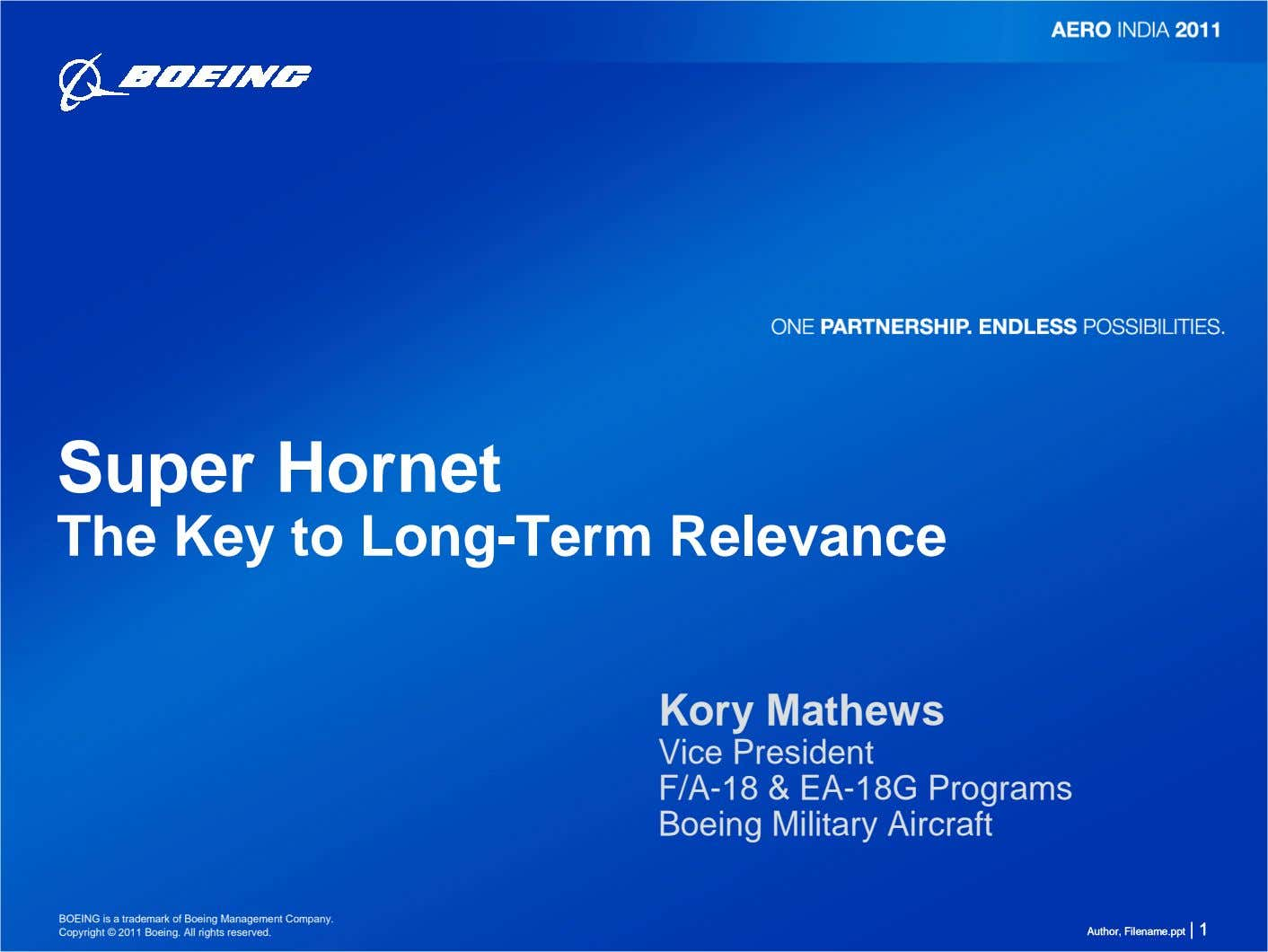 Super Hornet The Key to Long-Term Relevance Kory Mathews Vice President F/A-18 & EA-18G Programs