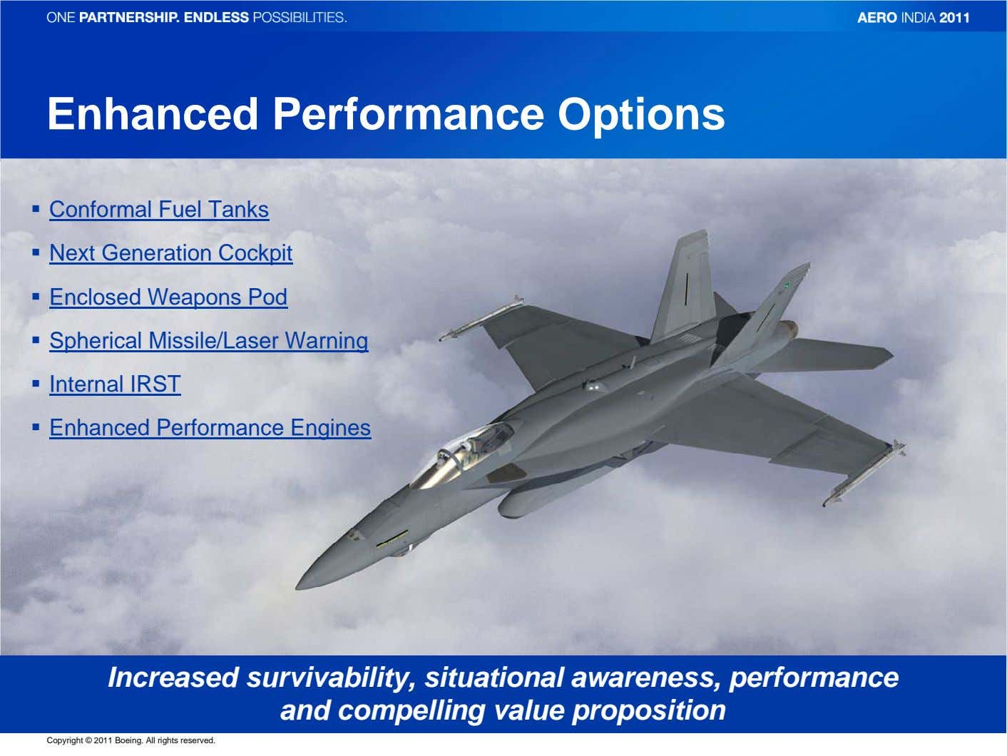 Enhanced Performance Options Conformal Fuel Tanks Next Generation Cockpit Enclosed Weapons Pod Spherical