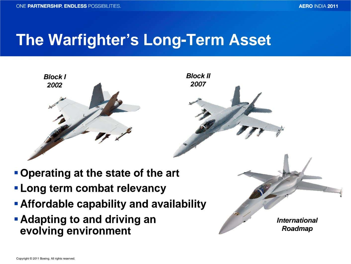 The Warfighter's Long-Term Asset Block I Block II 2002 2007 Operating at the state of