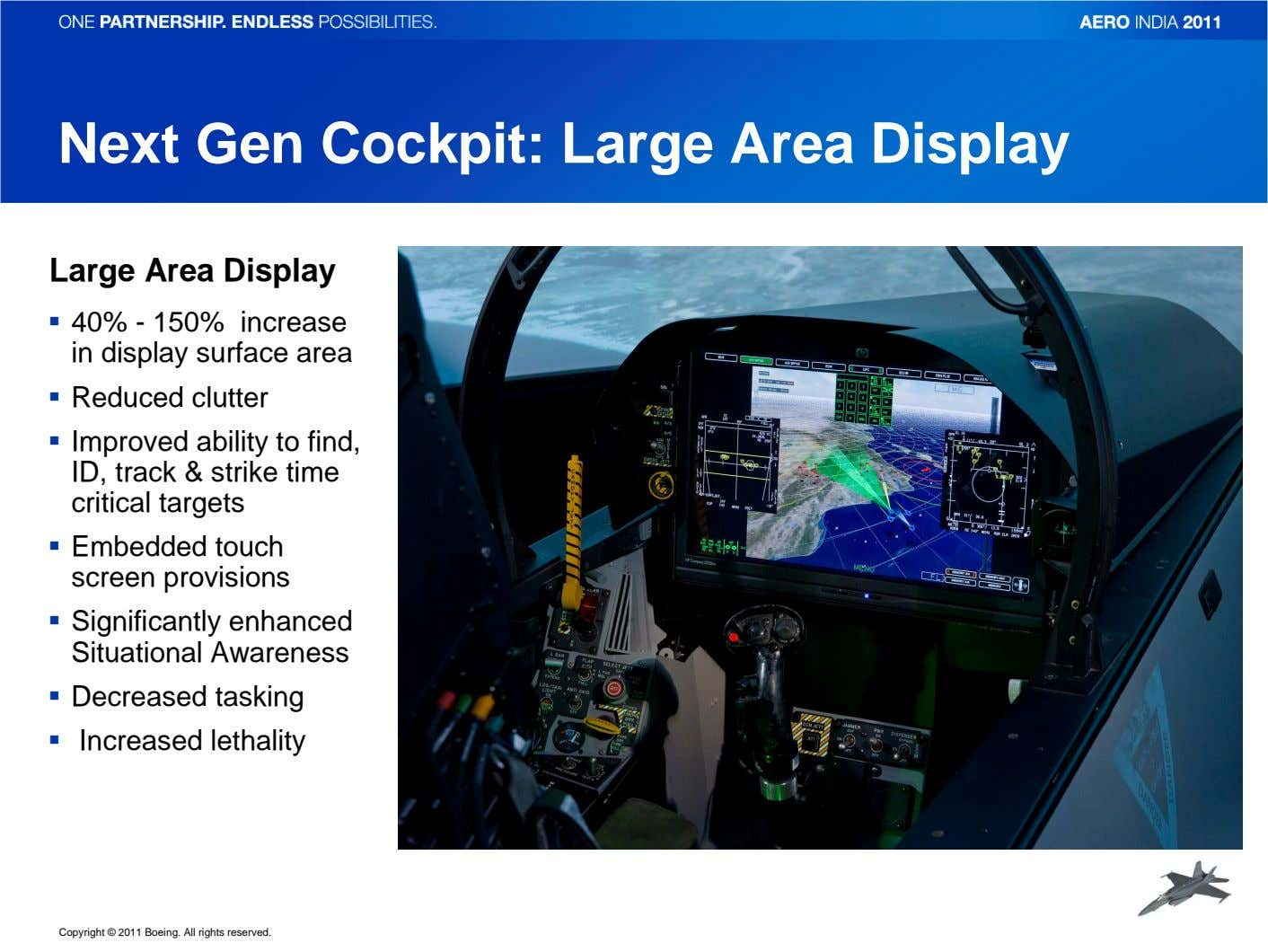 Next Gen Cockpit: Large Area Display Large Area Display 40% - 150% increase in display