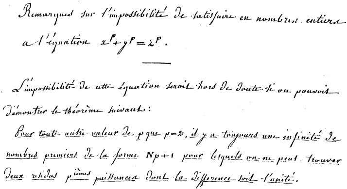 Figure 4: Beginning of Manuscript A 3.1 Germainís plan for proving Fermatís Last Theorem We