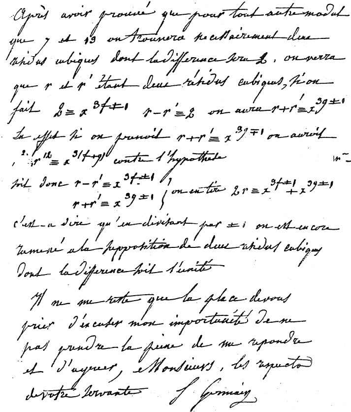 Figure 6: End of Germainís letter to Legendre 35