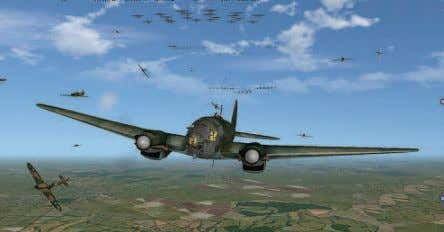 involving several hundred aircraft in the sky at one time. A Luftwaffe Heinkel 111 awaits an