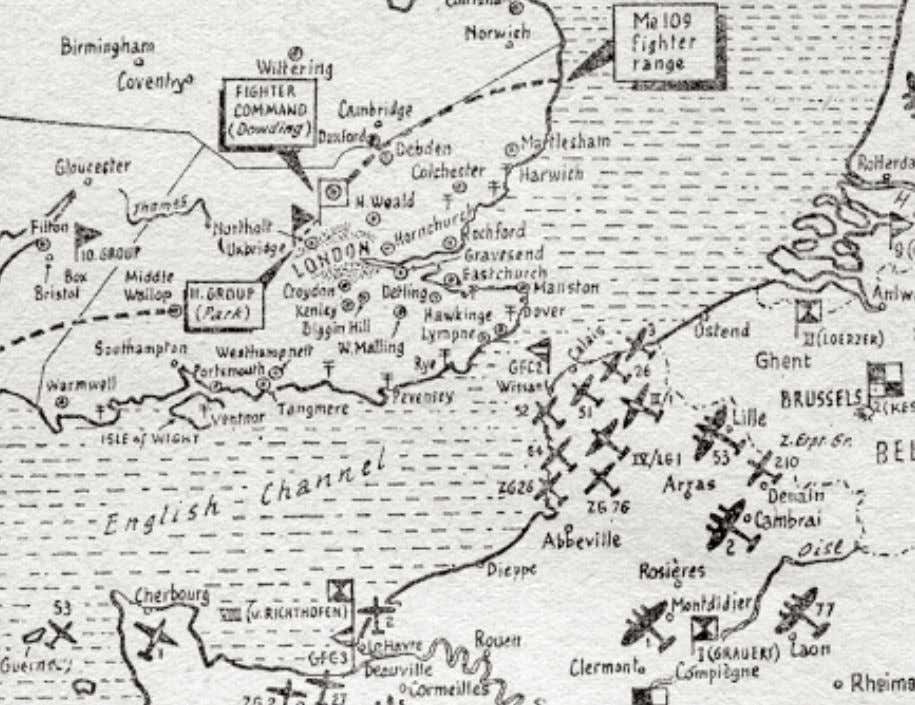 about two thirdsofthetime(Ref.4).ItwasonlywhenLondonbecame Map from Air Ministry account of the Battle of Britain