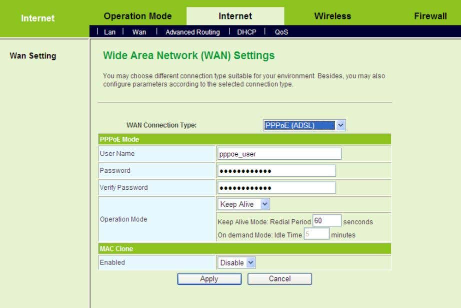 Step5 On the Wide Area Network (WAN) Settings page, set the WAN Connection Type to