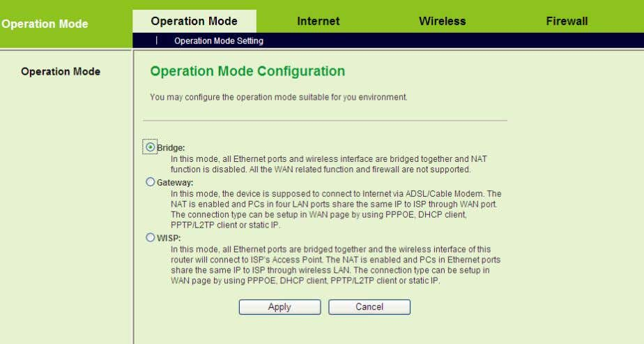 Mode to display the Operation Mode Configuration page. On the Operation Mode Configuration page, choose the