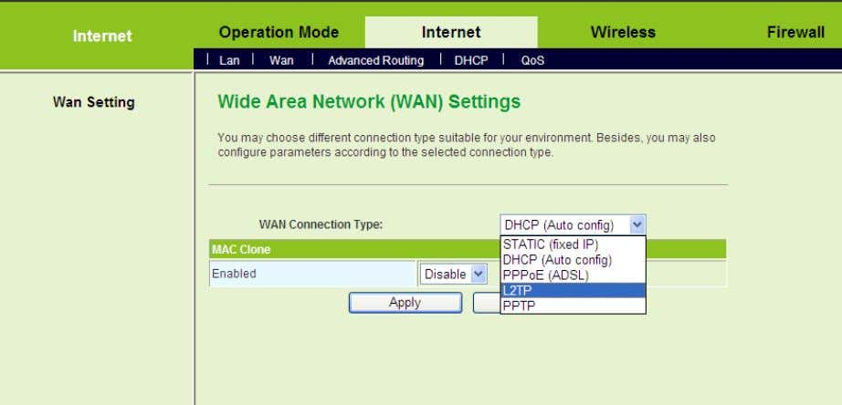 WAN to display the Wide Area Network (WAN) Settings page. This page provides 5 types of