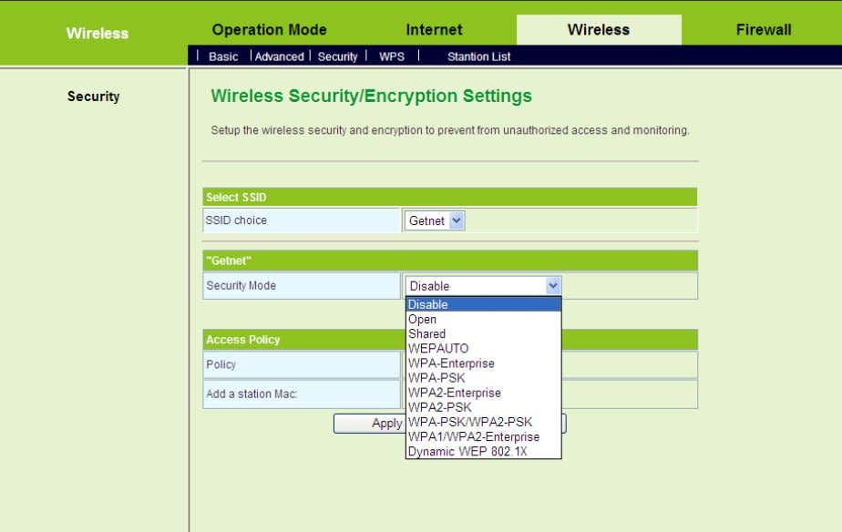 to display the Wireless Security/Encryption Settings page. On this page, you can set the security mode.