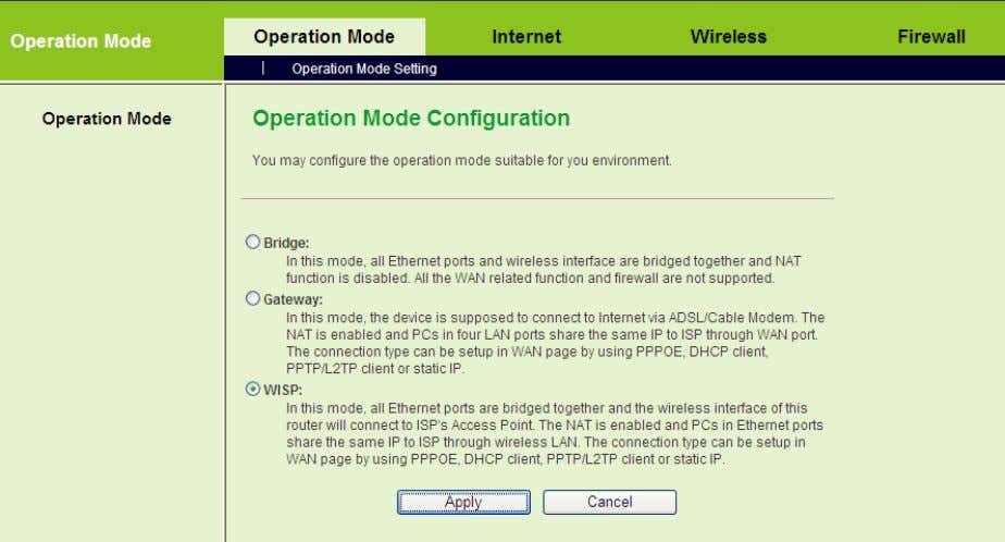 On the Operation Mode Configuration page, choose the WISP mode, and then click the Apply