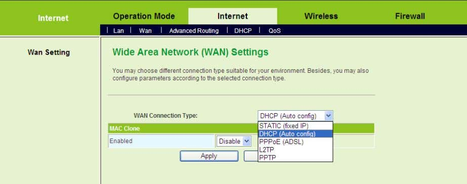 This page is used to configure the parameters of WAN connection. On this page, you