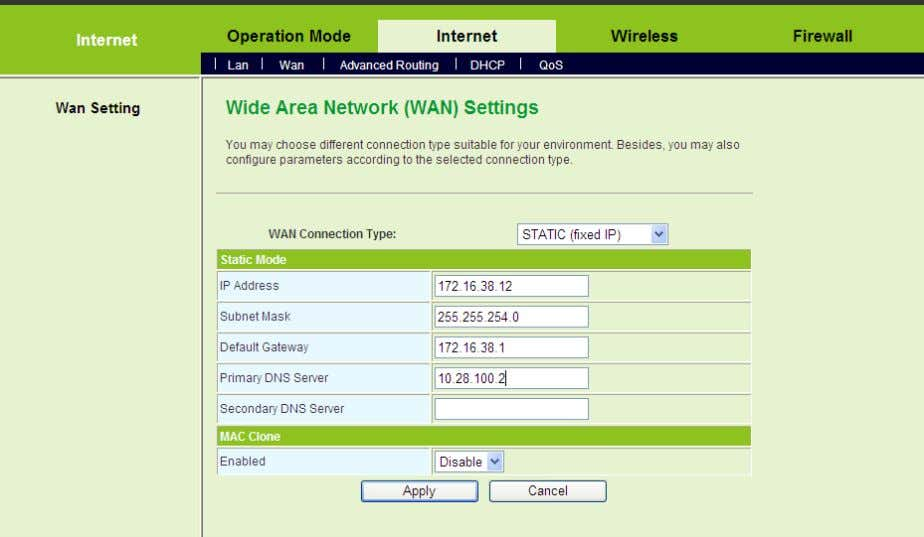 On this page, enter the IP address, the subnet mask, th e default gateway, and