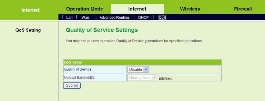 QoS to display the Quality of Service Settings page. This page is used to configure the