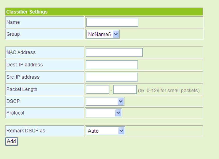 of Service Settings page, and the following page appears. The parameters on this page are described